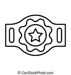 Boxing champion belt with a star line icon. vector illustration isolated on white. outline style design, designed for web and app. Eps 10