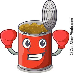 Boxing character canned food isolated on cartoon vector...