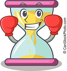 Boxing character hourglass concept for business deadline