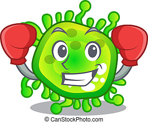 Boxing character microbe bacterium on the palm vector illustration