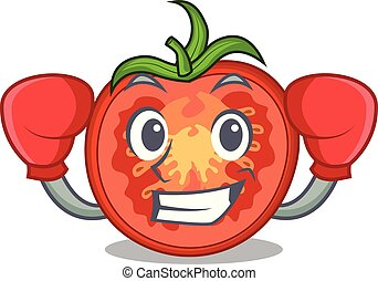 Boxing character tomato slices for food decor