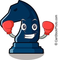 Boxing chess knight in the mascot shape