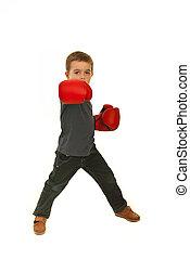 Boxing child boy isolated on white background