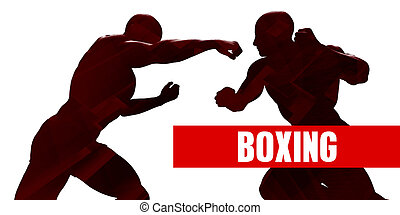 Boxing Class with Silhouette of Two Men Fighting