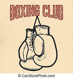 Boxing club. Boxing gloves on white background. Design element for poster,label, emblem, sign. Vector illustration