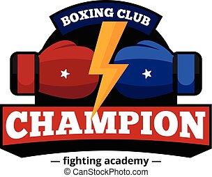 Boxing Club Logo Design Flat Icon