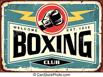 Boxing club retro tin sign template design