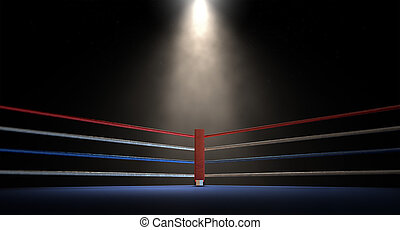 Boxing Corner Spotlit Dark - A closeup of the red corner of...