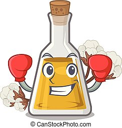 Boxing cottonseed oil in a mascot bottle vector illustration