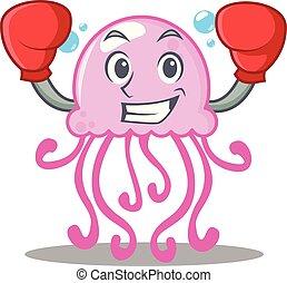 Boxing cute jellyfish character cartoon