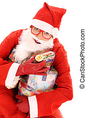A portrait of a happy Santa with many presents over white background