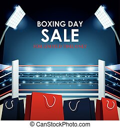 Boxing day dale colorful design with shopping bags on boxing ring background, colorful design, vector illustration