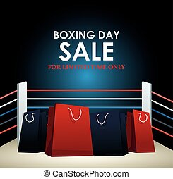 Boxing day dale colorful design with shopping bags on boxing ring background, vector illustration