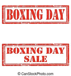 Boxing Day - Set of grunge rubber stamps with text Boxing...