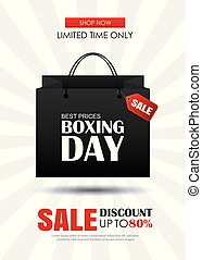 Boxing day sale with shopping bag advertising poster template. Use for flyer, banner, christmas seasonal offer, discount.