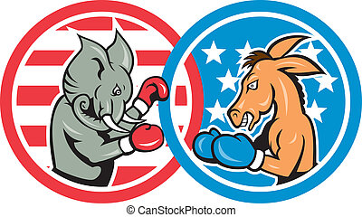 Illustration of a democrat donkey mascot of the democratic grand old party gop and republican elephant boxer boxing set inside two circle with American stars and stripes done in cartoon style.