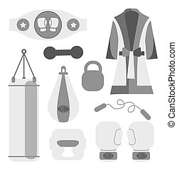 Boxing design elements. Fighting and boxing equipment. Boxing gloves illustration. Boxing gym icons. punching bag