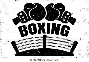 boxing, embleem, retro