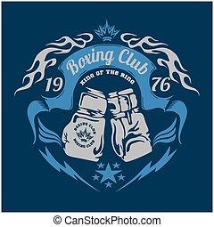 Boxing emblem. Vector stock. - Boxing emblem in dark...