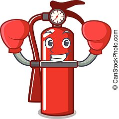 Boxing fire extinguisher character cartoon