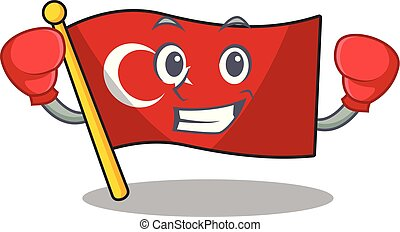 Boxing flag turkey character on shaped cartoon