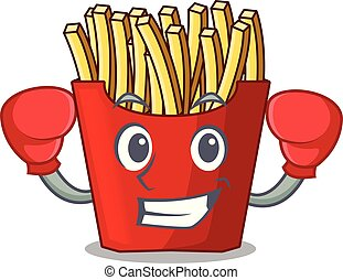 Boxing french fries above cartoon table wood