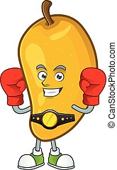 Boxing fresh mango character cartoon with mascot