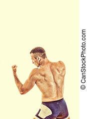 boxing, gespierd, sporten, staking, gereed, kerel