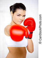 Boxing Girl - Young beautiful woman during fitness time and...