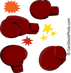 Four red boxing gloves with effects over white background