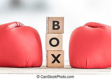 Boxing gloves and a boxing sign
