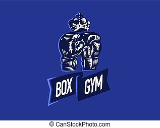 Boxing Gloves and Crown. Vector