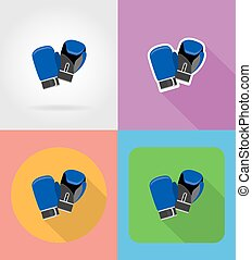 boxing gloves flat icons vector illustration