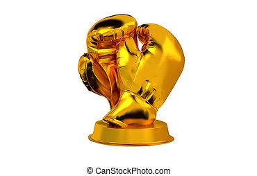 Boxing Gloves Golden Trophy