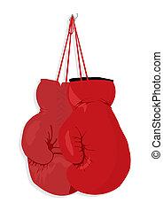 Boxing gloves hang on a nail. A vector illustration