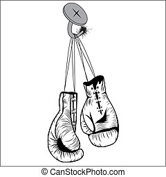 Boxing gloves hang with laces nailed to wall as a business or sport concept of a person that retires give up the fight or prepares for competition. Vector illustration isolated on white background