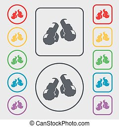 boxing gloves icon sign. symbol on the Round and square buttons with frame. Vector