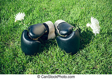 A pair of boxing gloves with flowers on a meadow