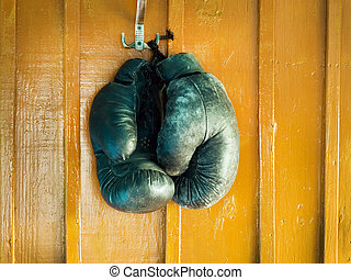 Boxing gloves on a wall
