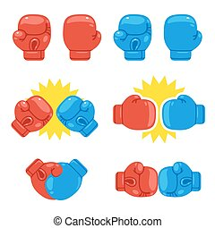 Boxing gloves set - Cartoon red and blue boxing gloves set. ...
