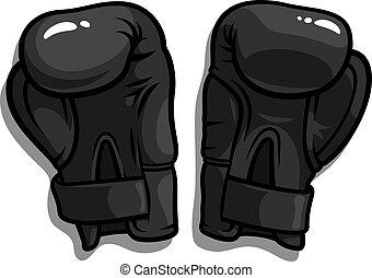 Boxing Gloves Vector - Vector illustration of black boxing...