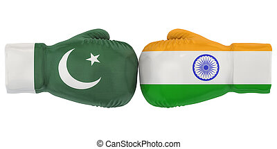 Boxing gloves with India and Pakistan flags. Political or war conflict concept, 3D rendering