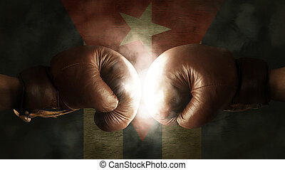 Boxing Gloves with the Flag of Cuba