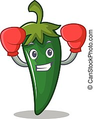 Boxing green chili character cartoon