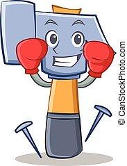 Boxing hammer character cartoon emoticon