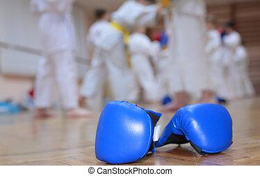 boxing handschoenen, op, vloer, van, sportende, zaal