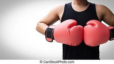 boxing handschoenen, vecht, man