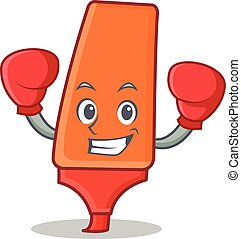 Boxing highlighter cartoon character style