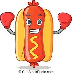 Boxing Hot Dog Cartoon Character