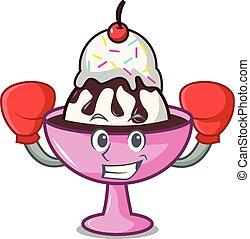 Boxing ice cream sundae character cartoon vector...
